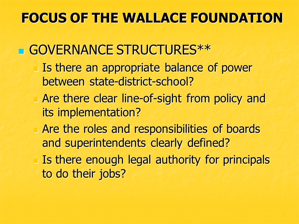 FOCUS OF THE WALLACE FOUNDATION Is the program accreditation process comprehensive and does it ensure program quality.