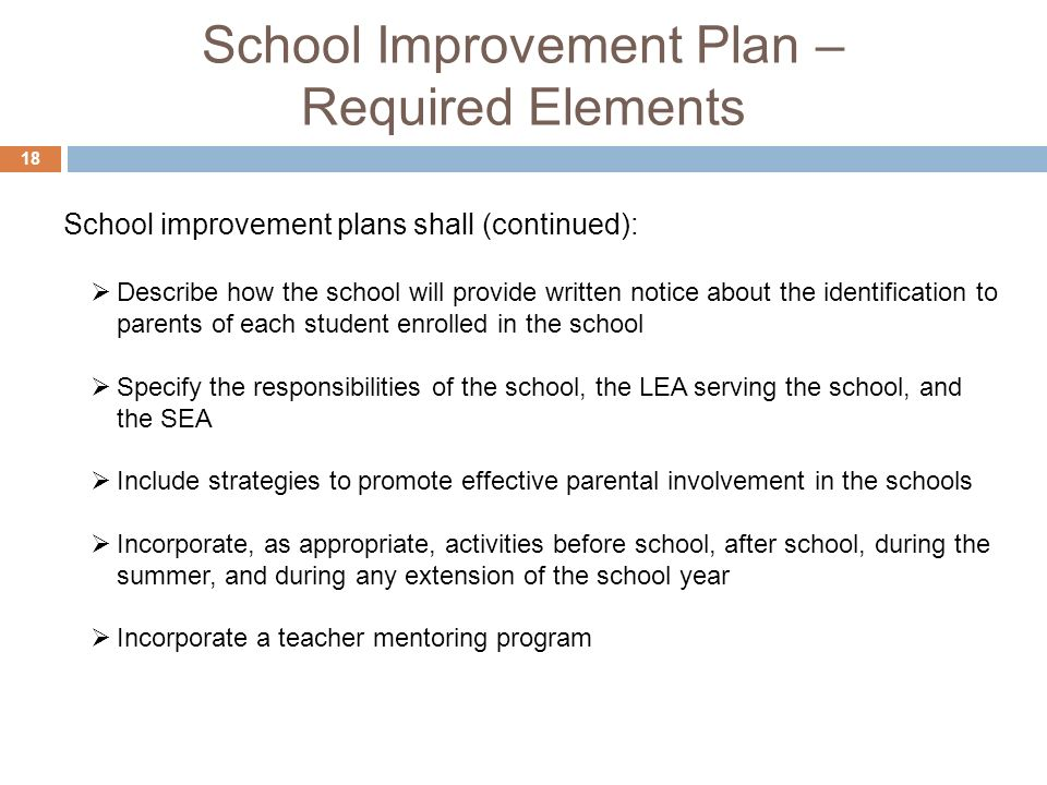 School Improvement Plan – Required Elements 18 Describe how the school will provide written notice about the identification to parents of each student enrolled in the school Specify the responsibilities of the school, the LEA serving the school, and the SEA Include strategies to promote effective parental involvement in the schools Incorporate, as appropriate, activities before school, after school, during the summer, and during any extension of the school year Incorporate a teacher mentoring program School improvement plans shall (continued):