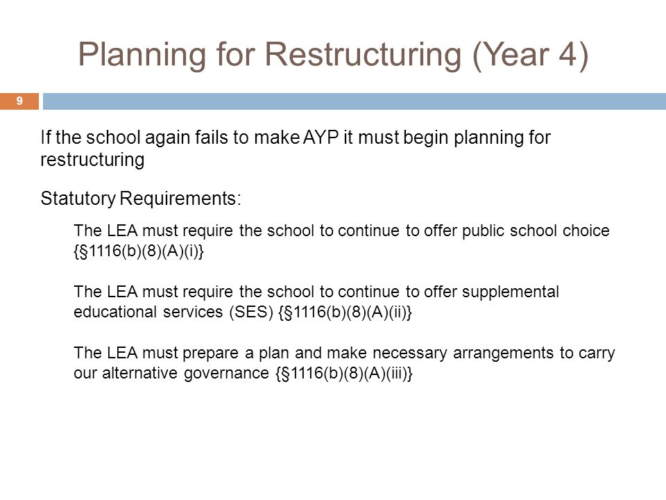 Planning for Restructuring (Year 4) 9 Statutory Requirements: The LEA must require the school to continue to offer public school choice {§1116(b)(8)(A)(i)} The LEA must require the school to continue to offer supplemental educational services (SES) {§1116(b)(8)(A)(ii)} The LEA must prepare a plan and make necessary arrangements to carry our alternative governance {§1116(b)(8)(A)(iii)} If the school again fails to make AYP it must begin planning for restructuring