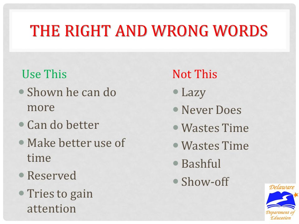 THE RIGHT AND WRONG WORDS Use This Shown he can do more Can do better Make better use of time Reserved Tries to gain attention Not This Lazy Never Does Wastes Time Bashful Show-off