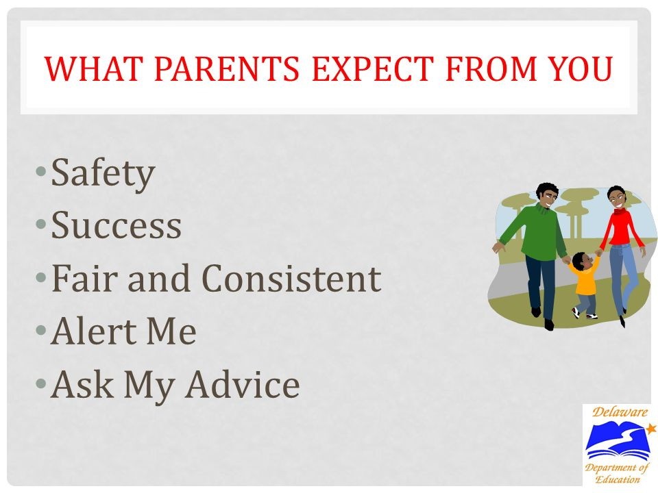 WHAT PARENTS EXPECT FROM YOU Safety Success Fair and Consistent Alert Me Ask My Advice