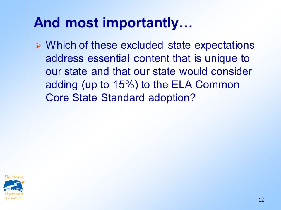 And most importantly… Which of these excluded state expectations address essential content that is unique to our state and that our state would consider adding (up to 15%) to the ELA Common Core State Standard adoption.