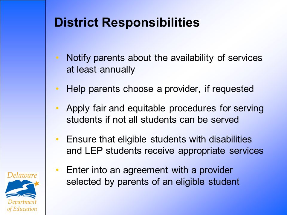 District Responsibilities Notify parents about the availability of services at least annually Help parents choose a provider, if requested Apply fair and equitable procedures for serving students if not all students can be served Ensure that eligible students with disabilities and LEP students receive appropriate services Enter into an agreement with a provider selected by parents of an eligible student