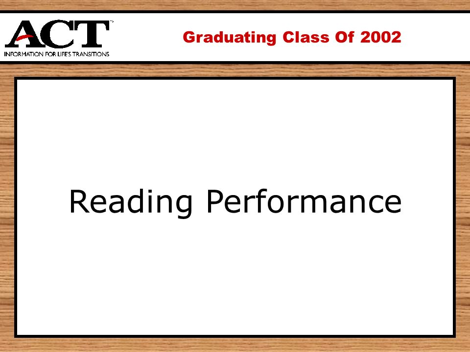 Graduating Class Of 2002 Reading Performance