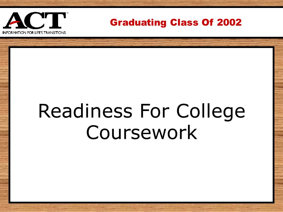 Graduating Class Of 2002 Readiness For College Coursework