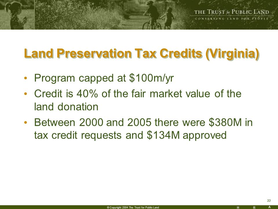 HR A 33 © Copyright 2004 The Trust for Public Land Land Preservation Tax Credits (Virginia) Program capped at $100m/yr Credit is 40% of the fair market value of the land donation Between 2000 and 2005 there were $380M in tax credit requests and $134M approved