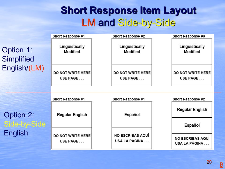 20 Short Response Item Layout LM and Side-by-Side Option 1: Simplified English/(LM) Option 2: Side-by-Side English B