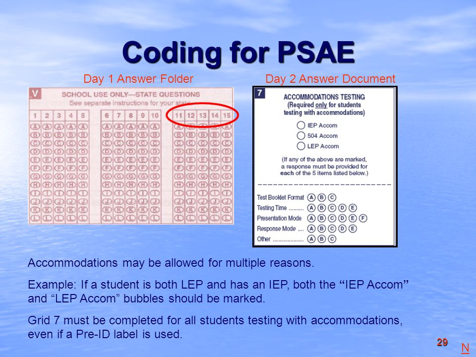 29 Coding for PSAE Day 1 Answer FolderDay 2 Answer Document Accommodations may be allowed for multiple reasons.