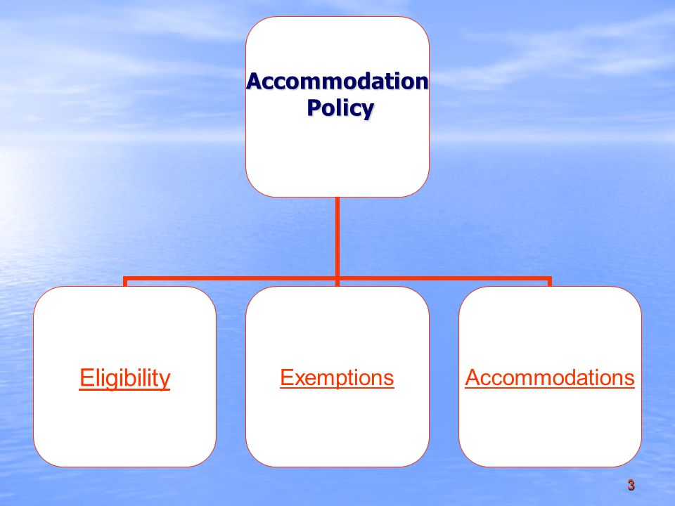 3Accommodation Policy Policy EligibilityExemptionsAccommodations
