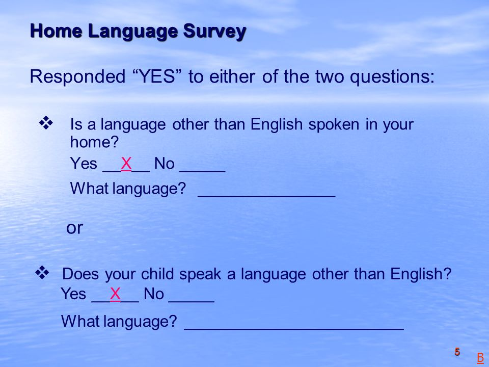 5 Home Language Survey Home Language Survey Responded YES to either of the two questions: Is a language other than English spoken in your home.