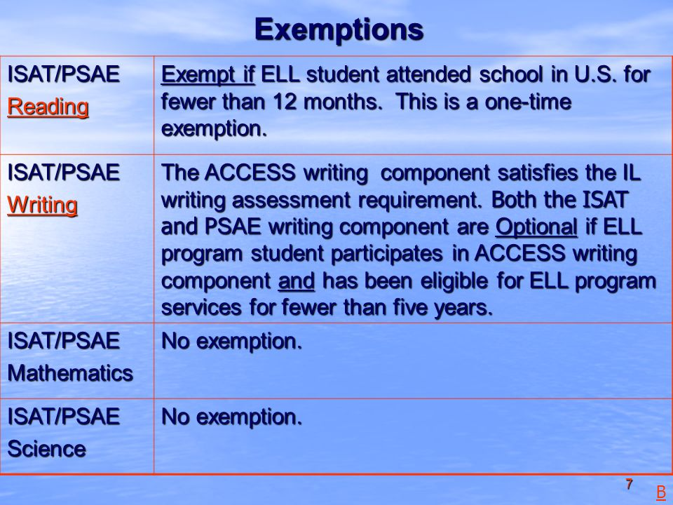 7 Exemptions ISAT/PSAE Reading Exempt if ELL student attended school in U.S.
