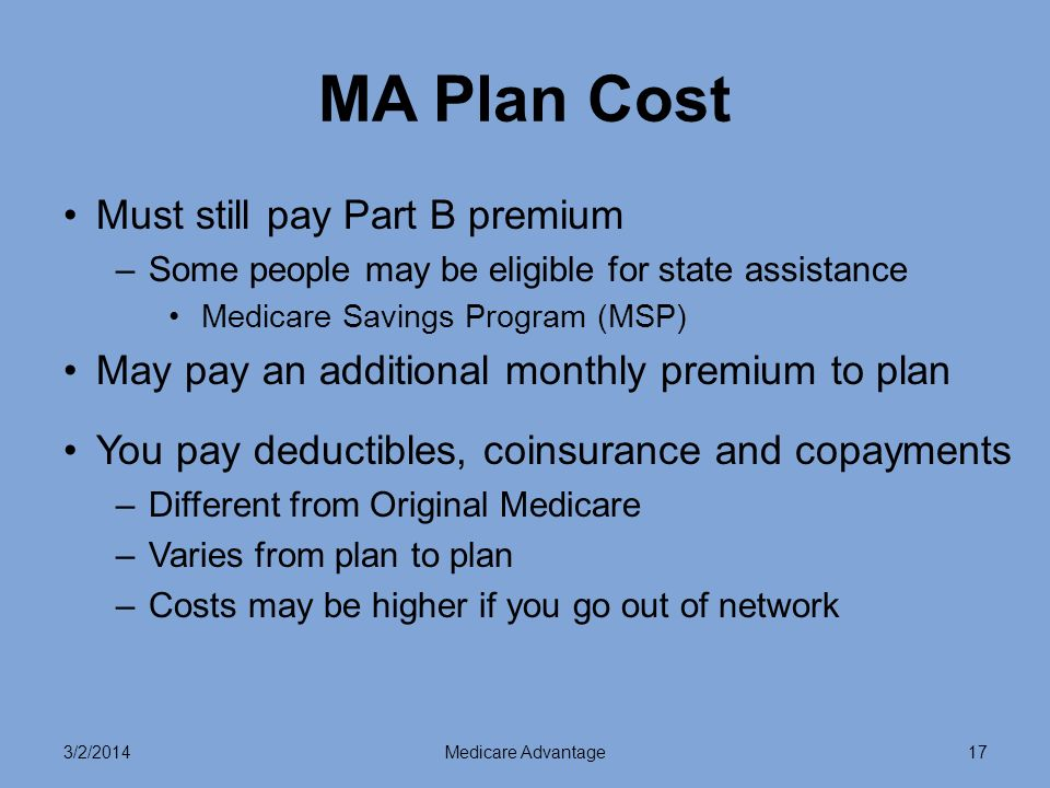 3/2/2014Medicare Advantage17 MA Plan Cost Must still pay Part B premium –Some people may be eligible for state assistance Medicare Savings Program (MSP) May pay an additional monthly premium to plan You pay deductibles, coinsurance and copayments –Different from Original Medicare –Varies from plan to plan –Costs may be higher if you go out of network