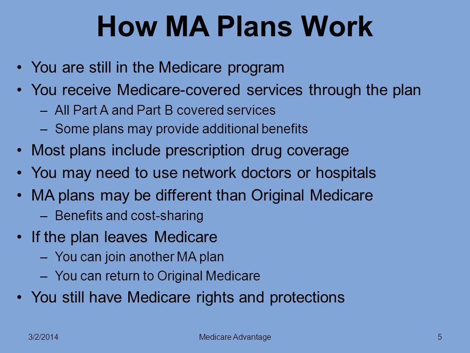 3/2/2014Medicare Advantage5 How MA Plans Work You are still in the Medicare program You receive Medicare-covered services through the plan –All Part A and Part B covered services –Some plans may provide additional benefits Most plans include prescription drug coverage You may need to use network doctors or hospitals MA plans may be different than Original Medicare –Benefits and cost-sharing If the plan leaves Medicare –You can join another MA plan –You can return to Original Medicare You still have Medicare rights and protections