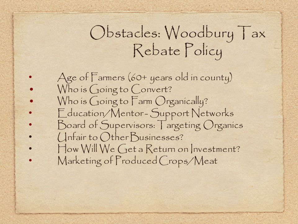 Obstacles: Woodbury Tax Rebate Policy Age of Farmers (60+ years old in county) Who is Going to Convert.