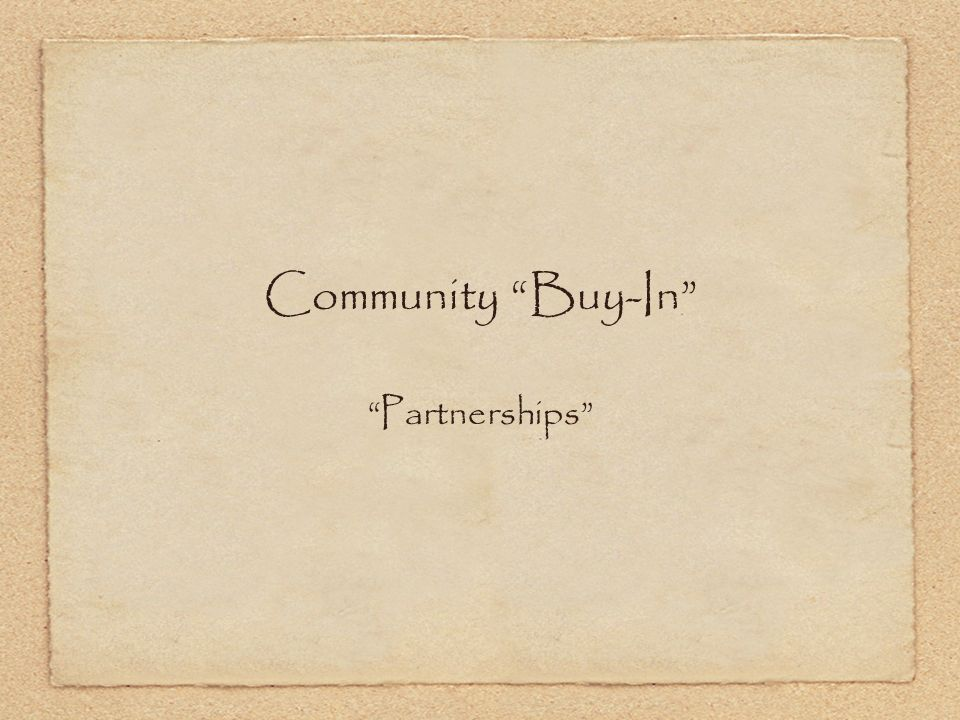 Community Buy-In Partnerships