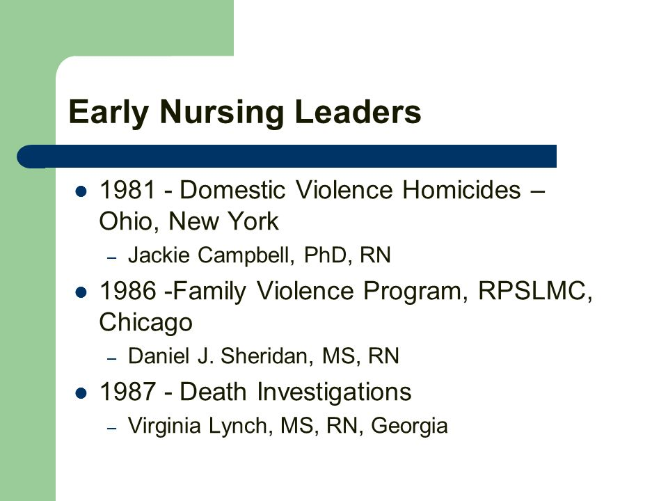 Early Nursing Leaders 1981 - Domestic Violence Homicides – Ohio, New York – Jackie Campbell, PhD, RN 1986 -Family Violence Program, RPSLMC, Chicago – Daniel J.