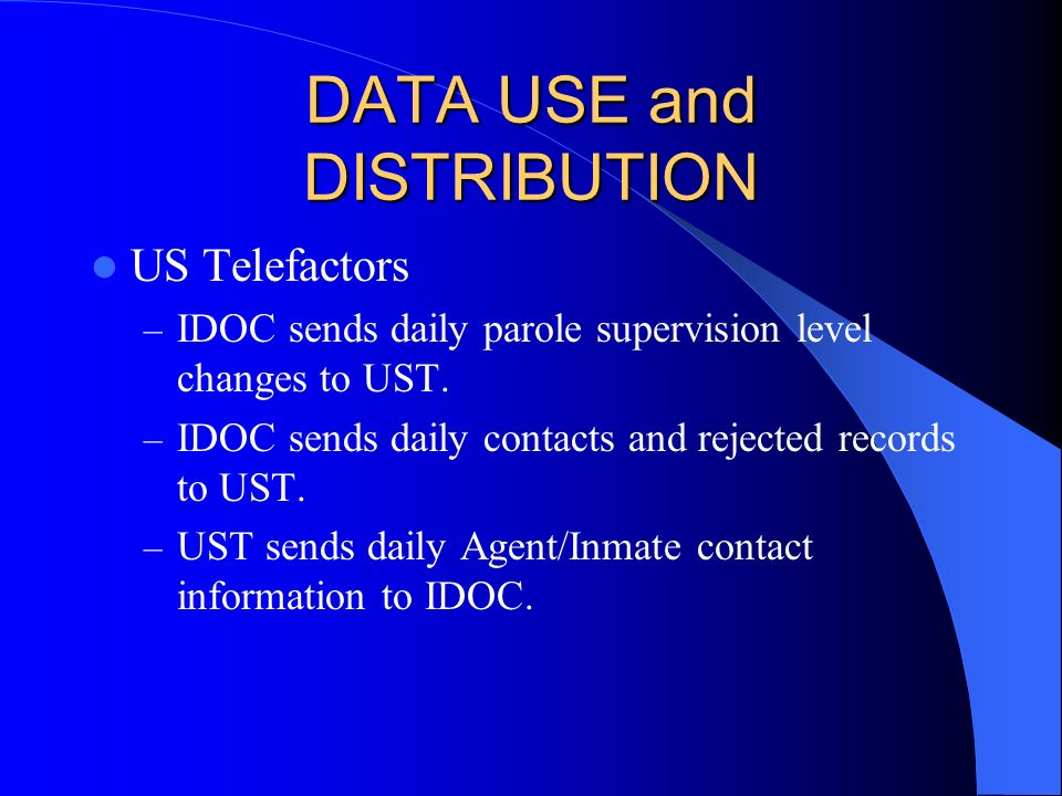 DATA USE and DISTRIBUTION US Telefactors – IDOC sends daily parole supervision level changes to UST.