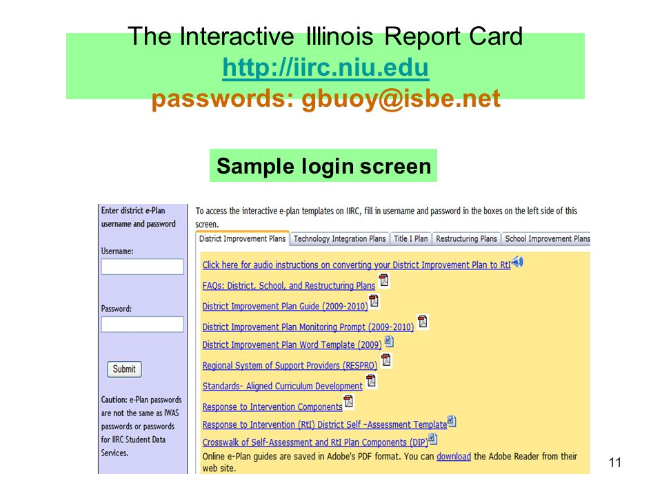 11 The Interactive Illinois Report Card http://iirc.niu.edu passwords: gbuoy@isbe.net http://iirc.niu.edu Sample login screen