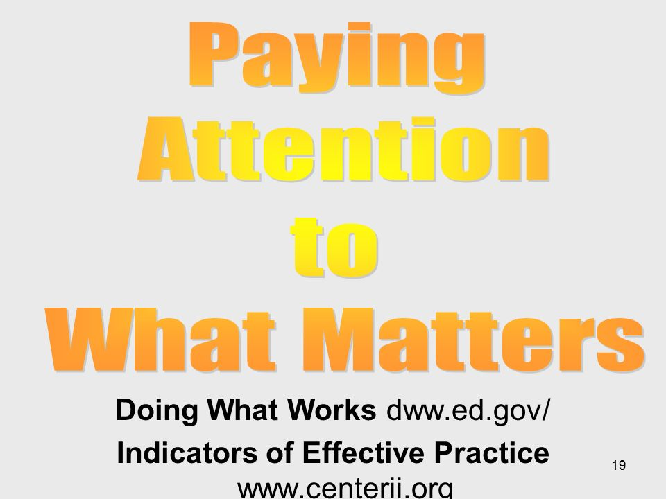 19 Doing What Works dww.ed.gov/ Indicators of Effective Practice www.centerii.org