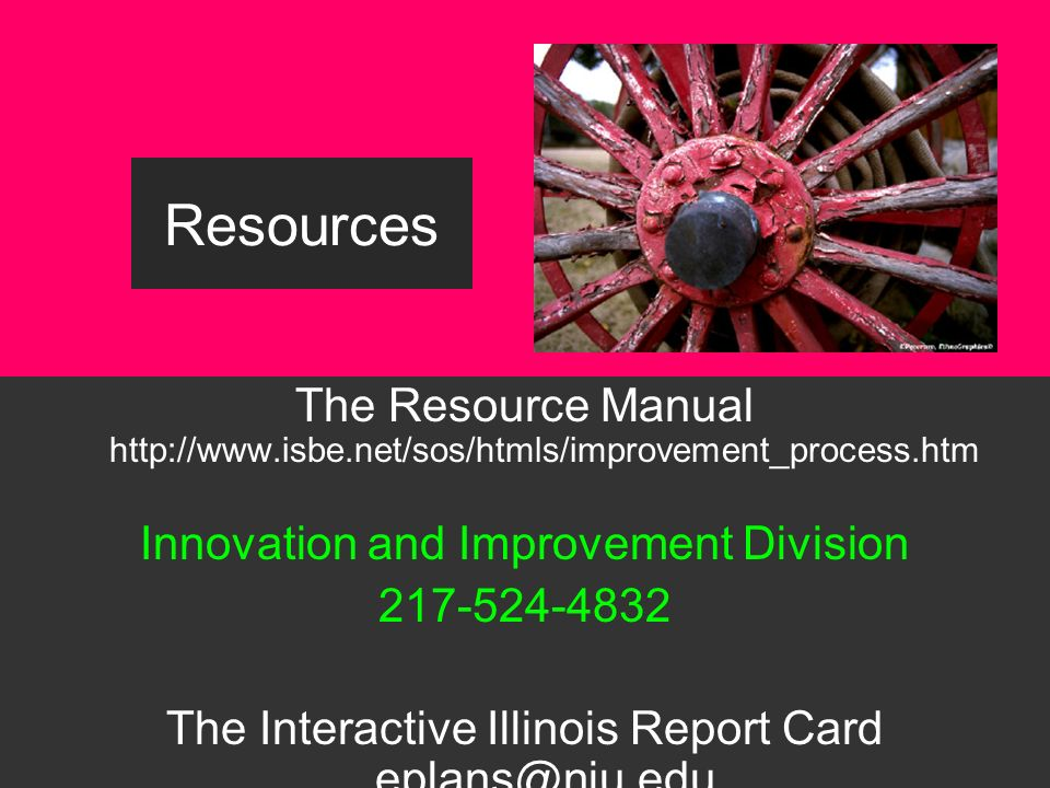 2 The Resource Manual http://www.isbe.net/sos/htmls/improvement_process.htm Innovation and Improvement Division 217-524-4832 The Interactive Illinois Report Card eplans@niu.edu (815) 753-0978 Resources