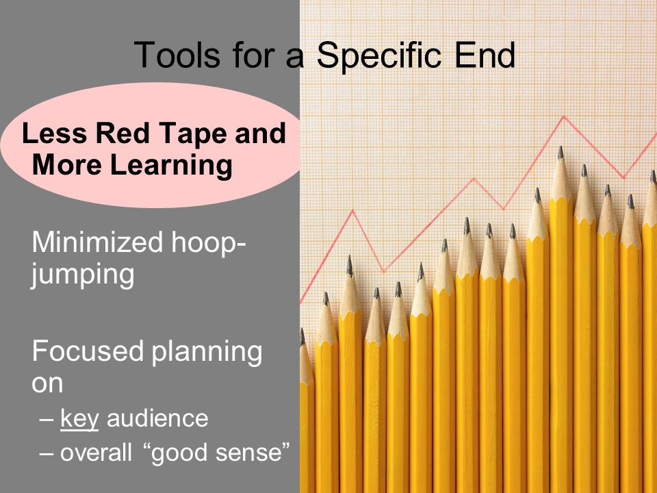 7 Tools for a Specific End Less Red Tape and More Learning Minimized hoop- jumping Focused planning on –key audience –overall good sense