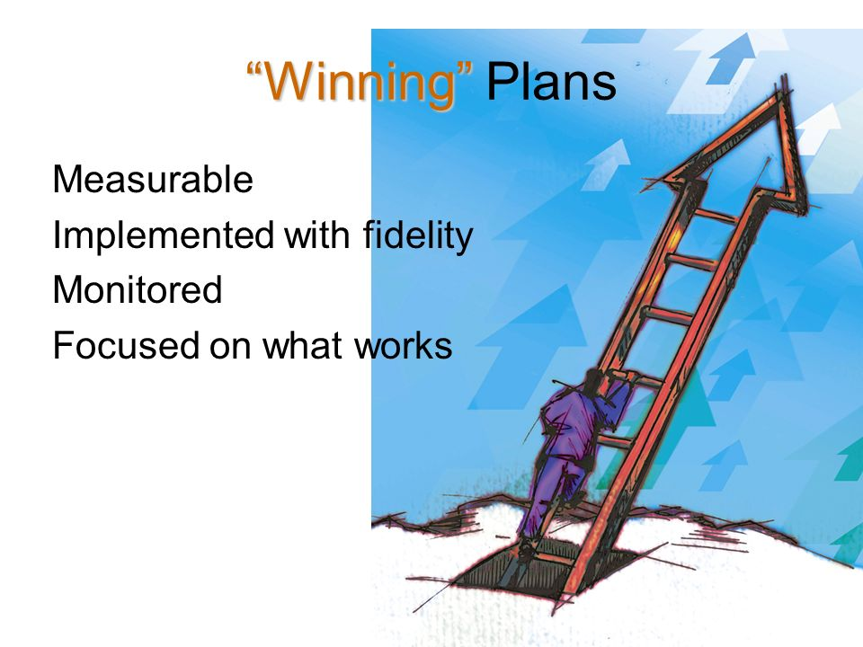 9 Winning Winning Plans Measurable Implemented with fidelity Monitored Focused on what works