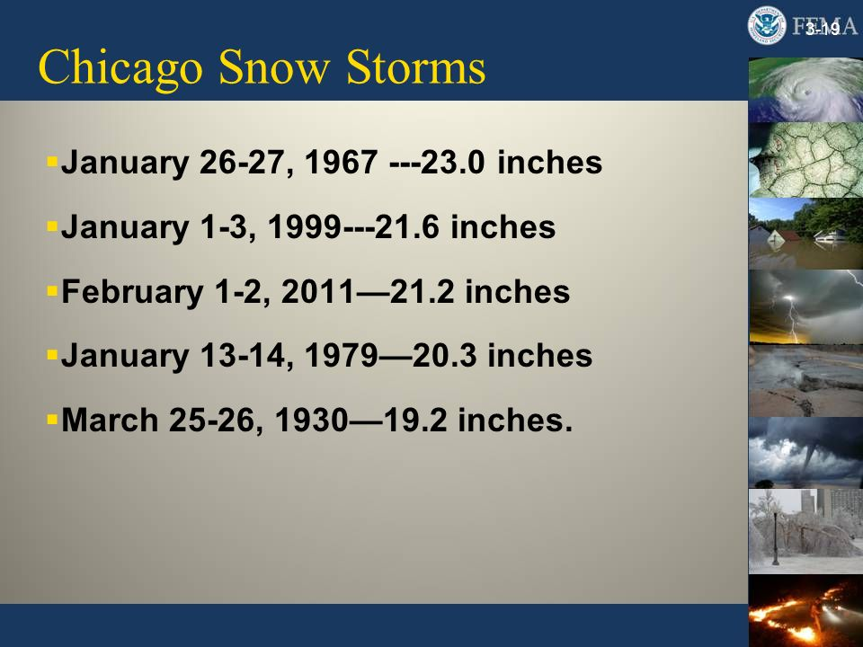 Chicago Snow Storms 3-19 January 26-27, 1967 ---23.0 inches January 1-3, 1999---21.6 inches February 1-2, 201121.2 inches January 13-14, 197920.3 inches March 25-26, 193019.2 inches.