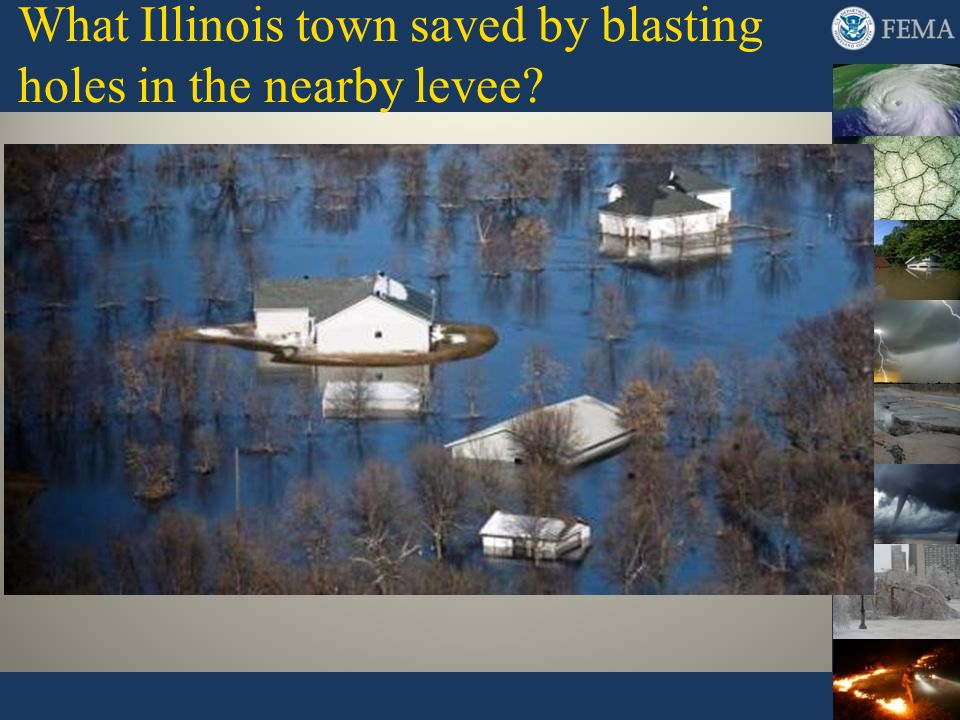 What Illinois town saved by blasting holes in the nearby levee