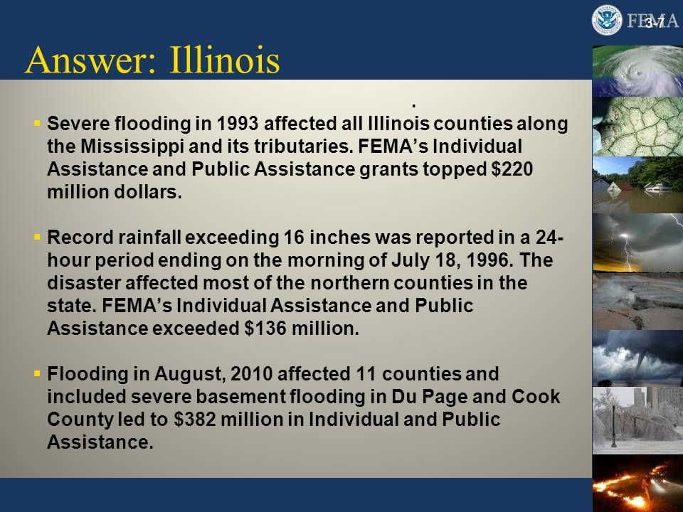 Answer: Illinois 3-7 Severe flooding in 1993 affected all Illinois counties along the Mississippi and its tributaries.