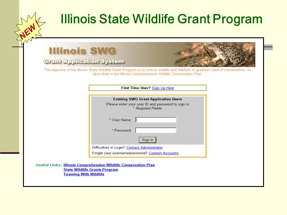 Illinois State Wildlife Grant Program NEW !