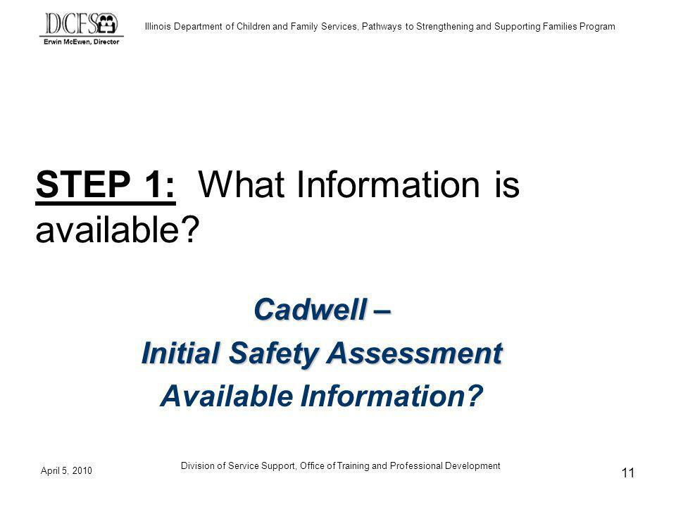 Illinois Department of Children and Family Services, Pathways to Strengthening and Supporting Families Program April 5, 2010 Division of Service Support, Office of Training and Professional Development 11 STEP 1: What Information is available.