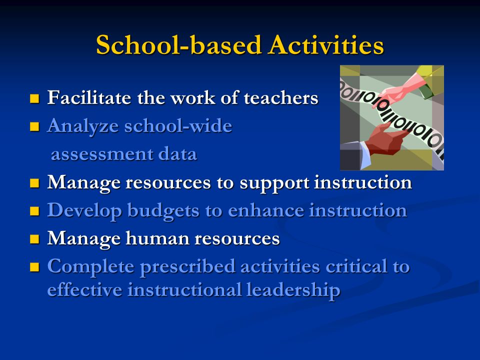 School-based Activities Facilitate the work of teachers Facilitate the work of teachers Analyze school-wide Analyze school-wide assessment data assessment data Manage resources to support instruction Manage resources to support instruction Develop budgets to enhance instruction Develop budgets to enhance instruction Manage human resources Manage human resources Complete prescribed activities critical to effective instructional leadership Complete prescribed activities critical to effective instructional leadership