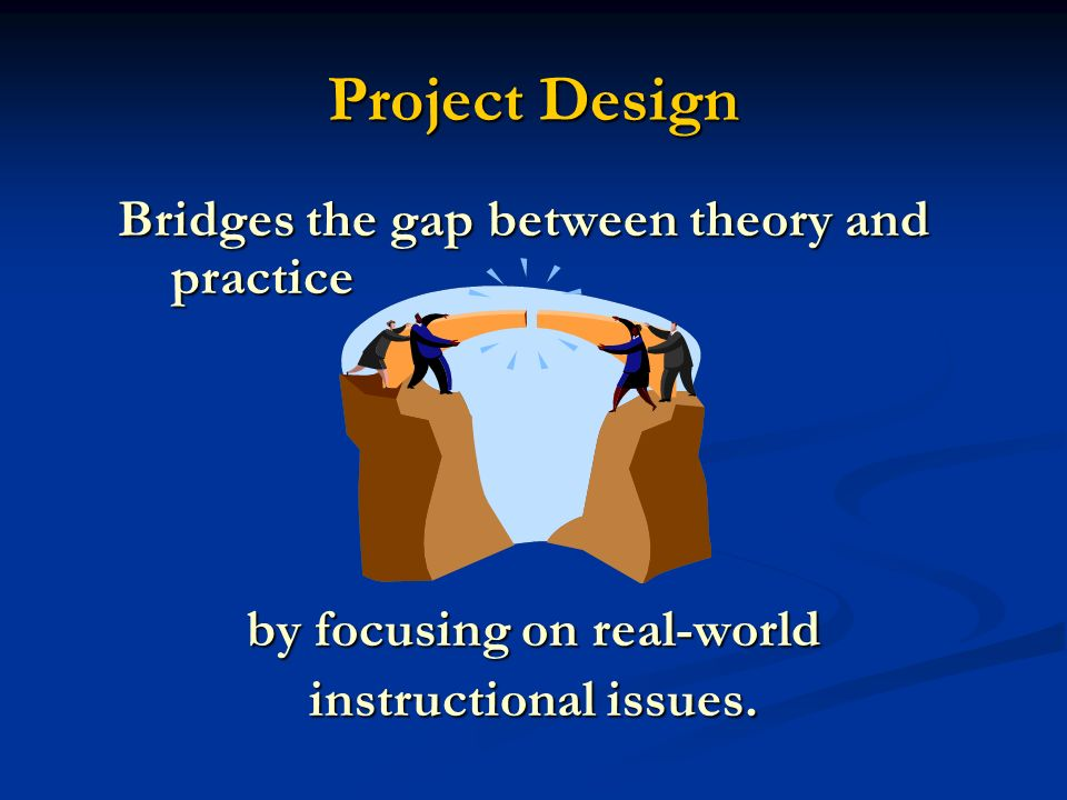 Project Design Bridges the gap between theory and practice Bridges the gap between theory and practice by focusing on real-world instructional issues.