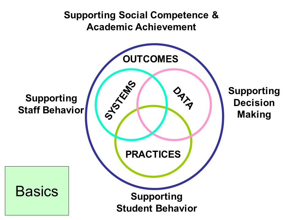 SYSTEMS PRACTICES DATA Supporting Staff Behavior Supporting Student Behavior OUTCOMES Supporting Social Competence & Academic Achievement Supporting Decision Making Basics