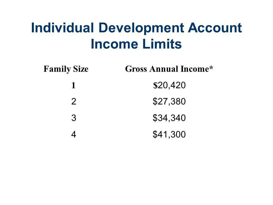 Individual Development Account Guidelines Applicants Must: Have Adjusted Gross Income Less Than 200% of Poverty Level Be A Current Resident of the State of Illinois Have a Previous Years Tax Return Have a Credit history that will enable them to purchase a home within 2 years.