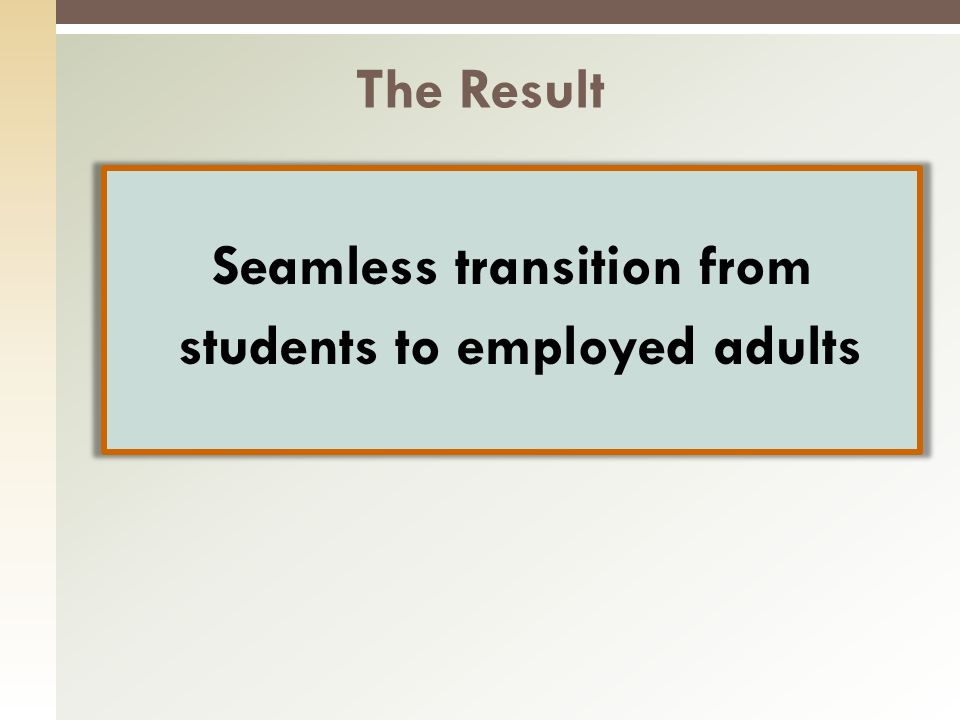 Seamless transition from students to employed adults The Result