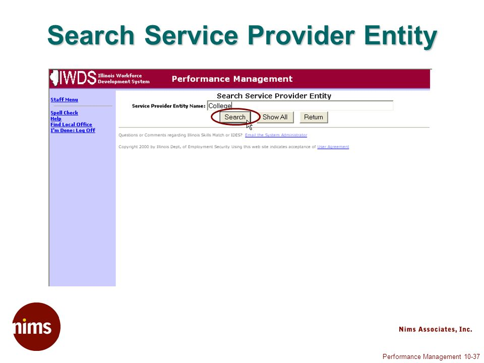 Performance Management Search Service Provider Entity
