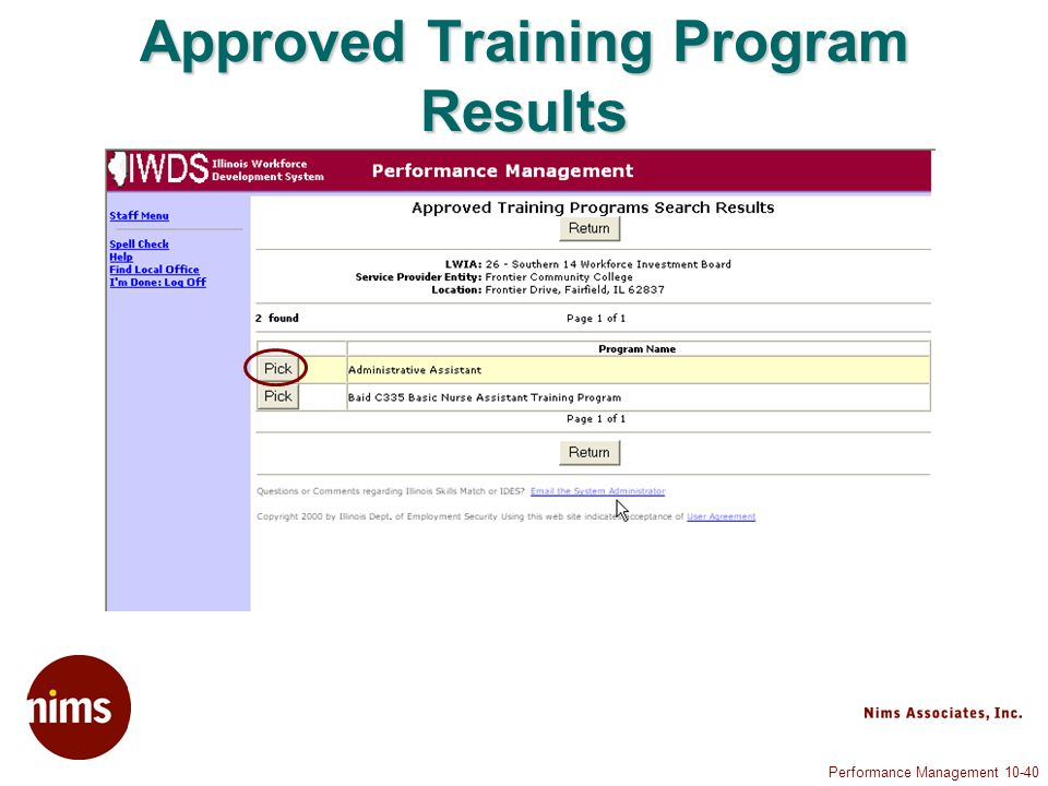 Performance Management Approved Training Program Results