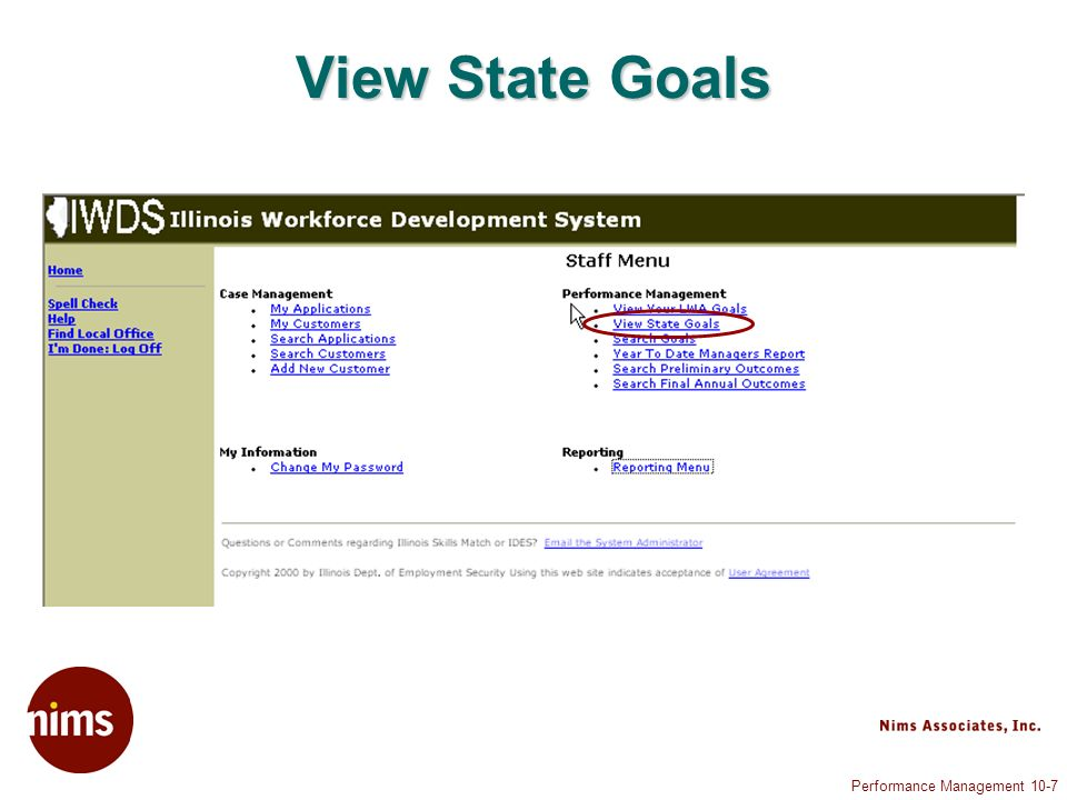 Performance Management 10-7 View State Goals