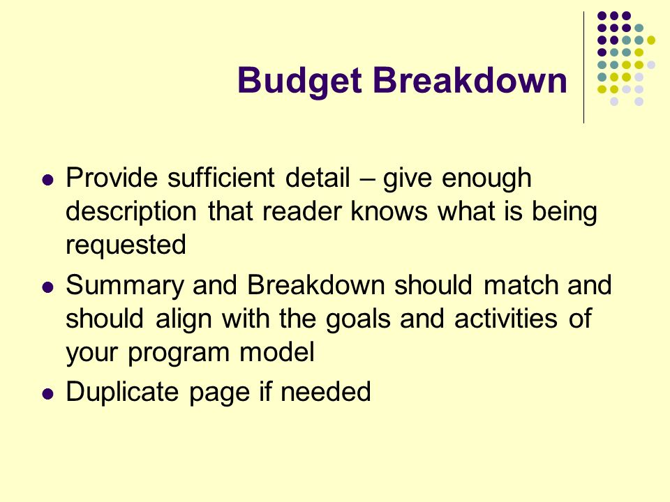 Budget Breakdown Provide sufficient detail – give enough description that reader knows what is being requested Summary and Breakdown should match and should align with the goals and activities of your program model Duplicate page if needed