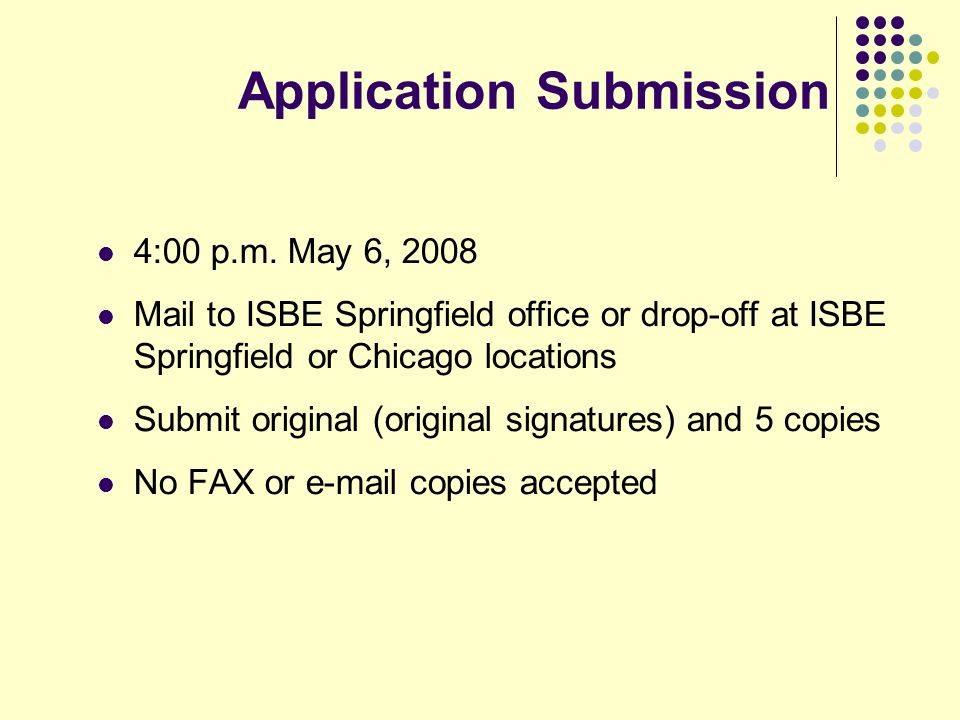 Application Submission 4:00 p.m.