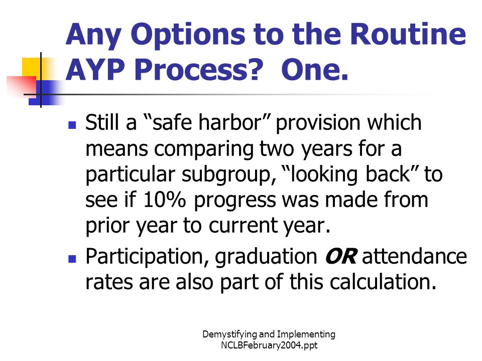 Demystifying and Implementing NCLBFebruary2004.ppt Any Options to the Routine AYP Process.