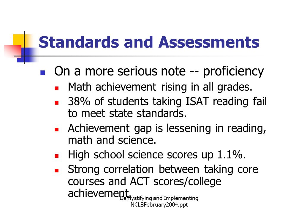 Demystifying and Implementing NCLBFebruary2004.ppt Standards and Assessments On a more serious note -- proficiency Math achievement rising in all grades.
