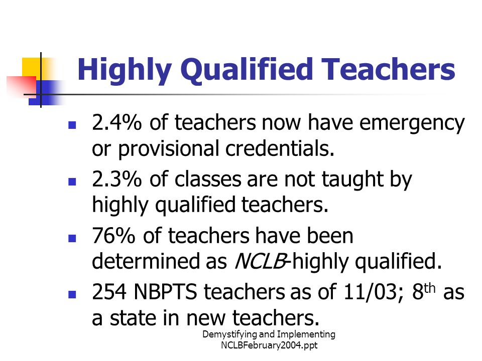 Demystifying and Implementing NCLBFebruary2004.ppt Highly Qualified Teachers 2.4% of teachers now have emergency or provisional credentials.