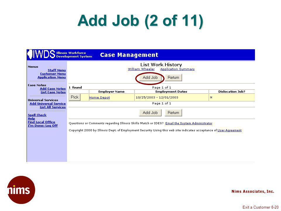 Exit a Customer 8-20 Add Job (2 of 11)
