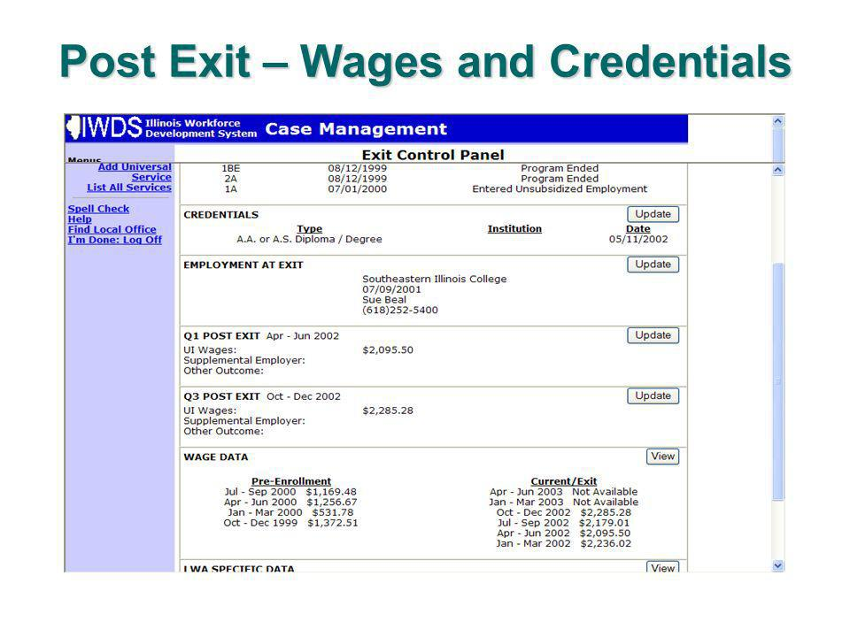 Post Exit – Wages and Credentials
