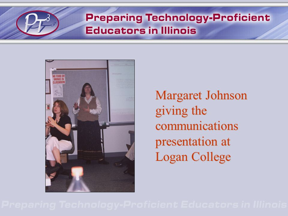 Margaret Johnson giving the communications presentation at Logan College