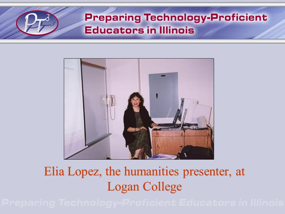 Elia Lopez, the humanities presenter, at Logan College
