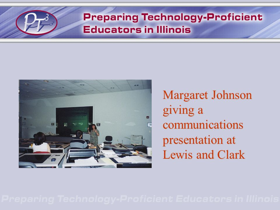Margaret Johnson giving a communications presentation at Lewis and Clark