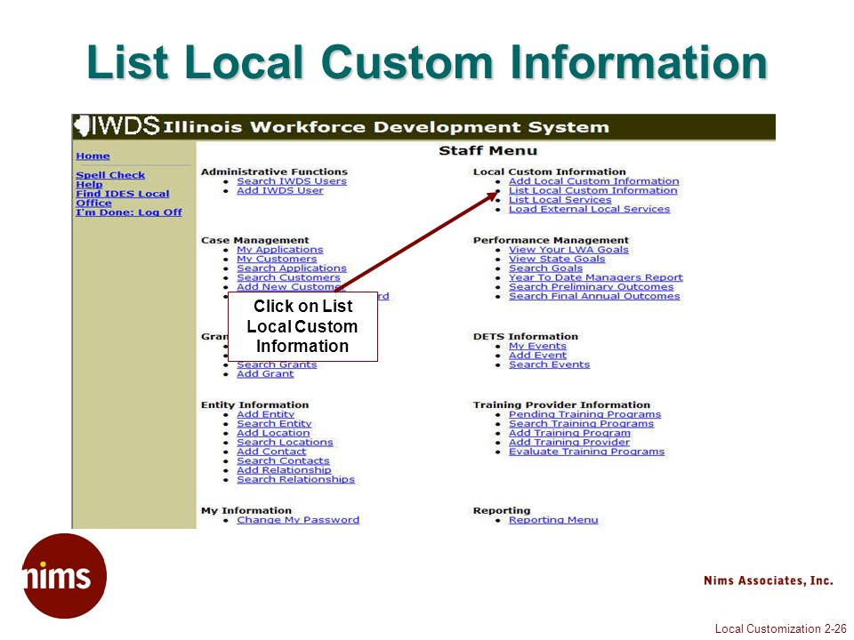 Local Customization 2-26 List Local Custom Information Click on List Local Custom Information